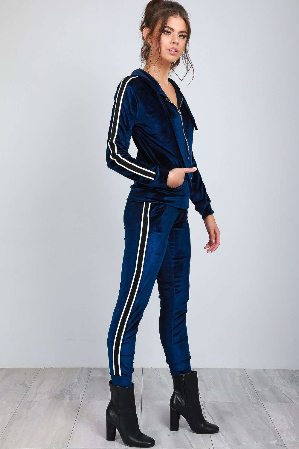 Hailee Striped Velour Lounge Wear Set - bejealous-com
