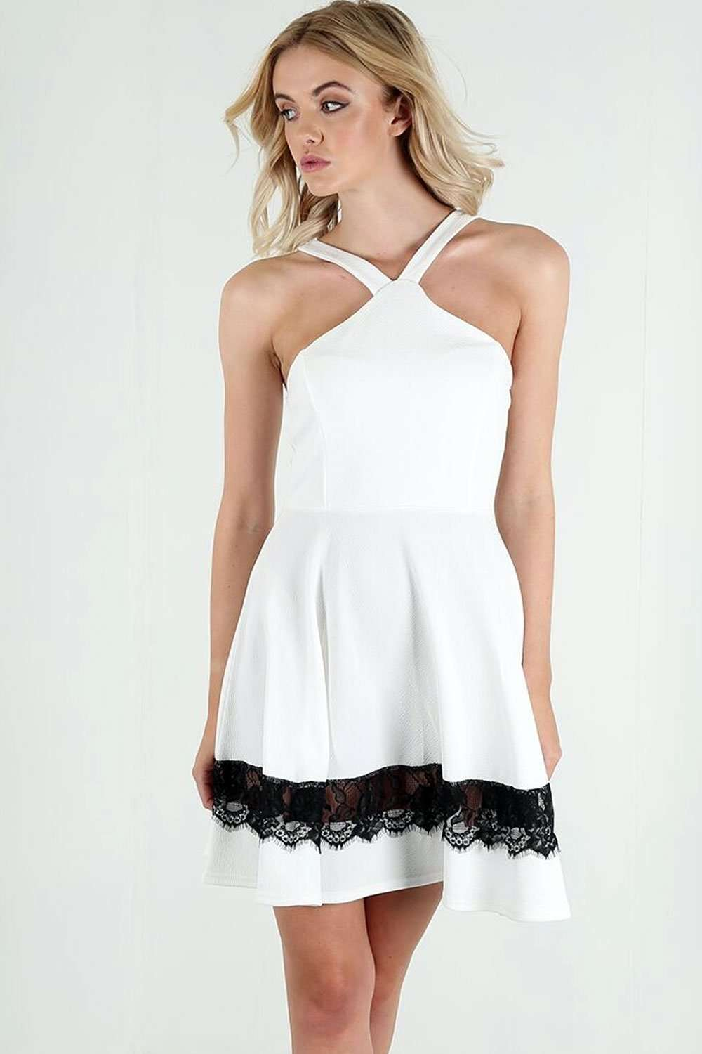 Haillee Halterneck Lace Skater Dress - bejealous-com