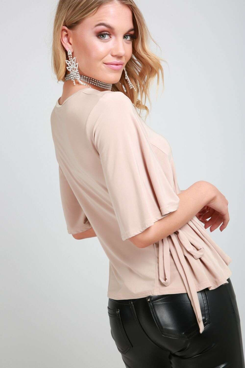 Hallee Beige Slinky Bat Wing Tie Side Top - bejealous-com