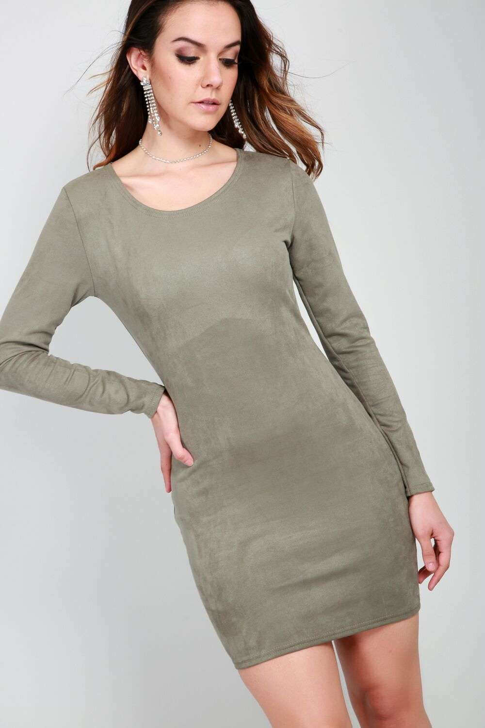 Hallie Long Sleeve Faux Suede Bodycon Dress - bejealous-com