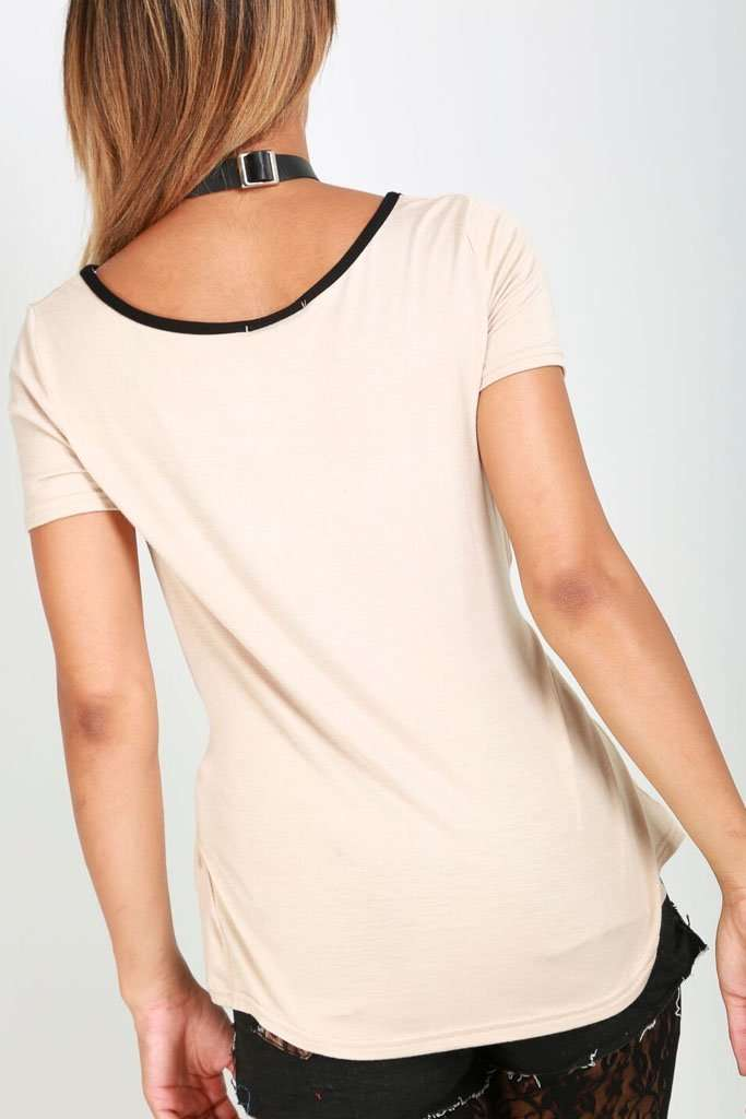 Hallie Short Sleeve Lace Up Basic Tshirt - bejealous-com