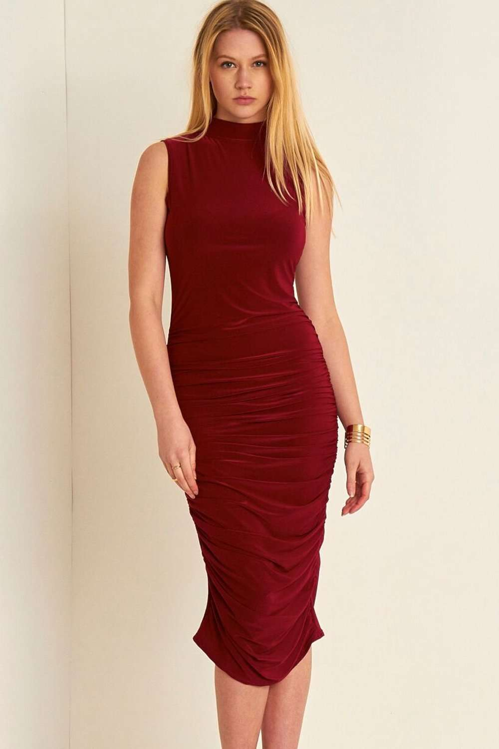 Hanna High Neck Sleeveless Ruched Midi Dress - bejealous-com