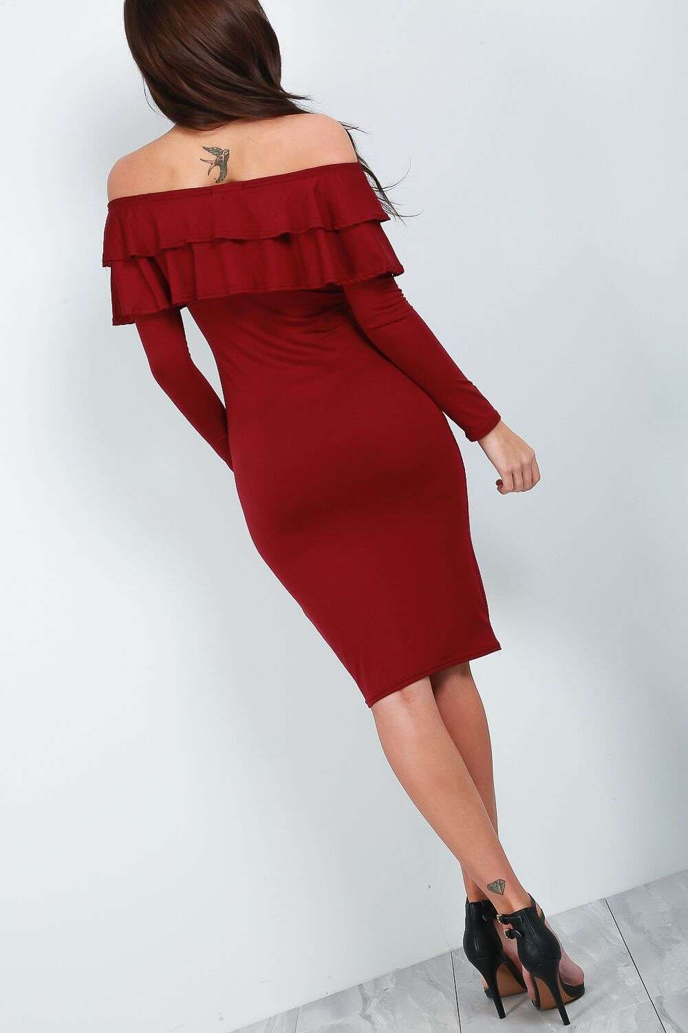 Hannah Long Sleeve Burgundy Bardot Frill Bodycon Dress - bejealous-com