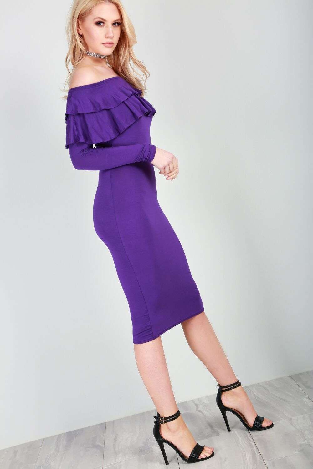 Hannah Long Sleeve Purple Bardot Frill Bodycon Dress - bejealous-com