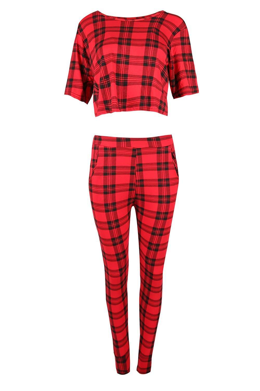 Hannah Red Tartan Lounge Wear Coord - bejealous-com