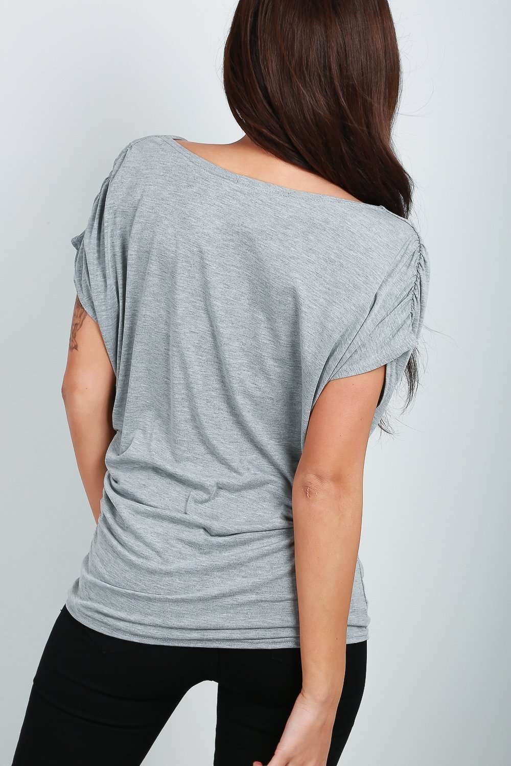 Harper Cowl Neck Gathered Jersey TShirt - bejealous-com