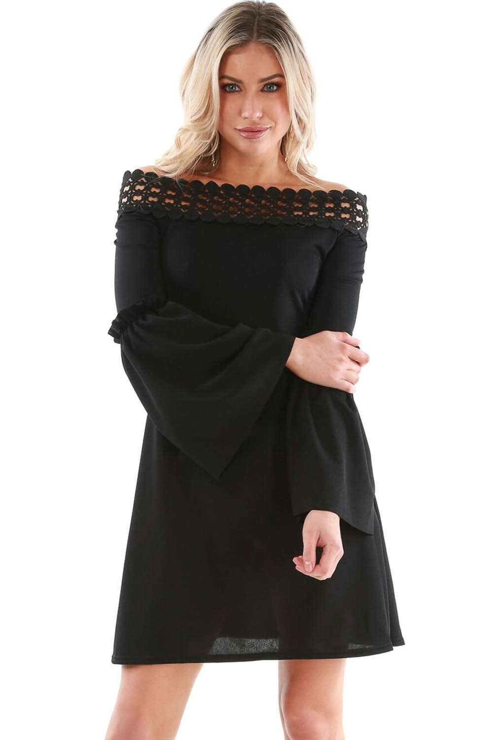Harriet Crochet Bardot Flare Sleeve Dress - bejealous-com