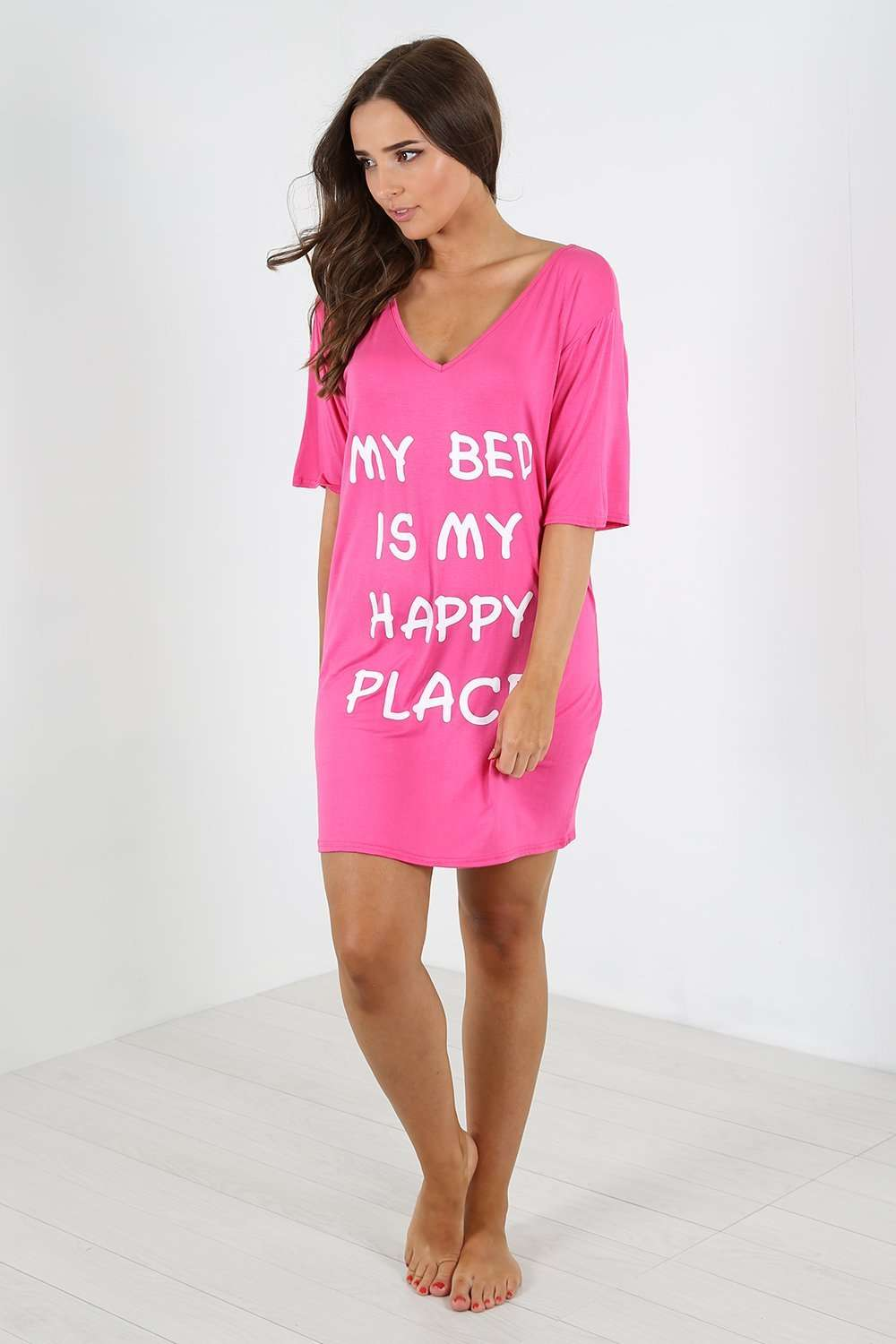 Harriet Slogan Print Oversized Night Dress - bejealous-com