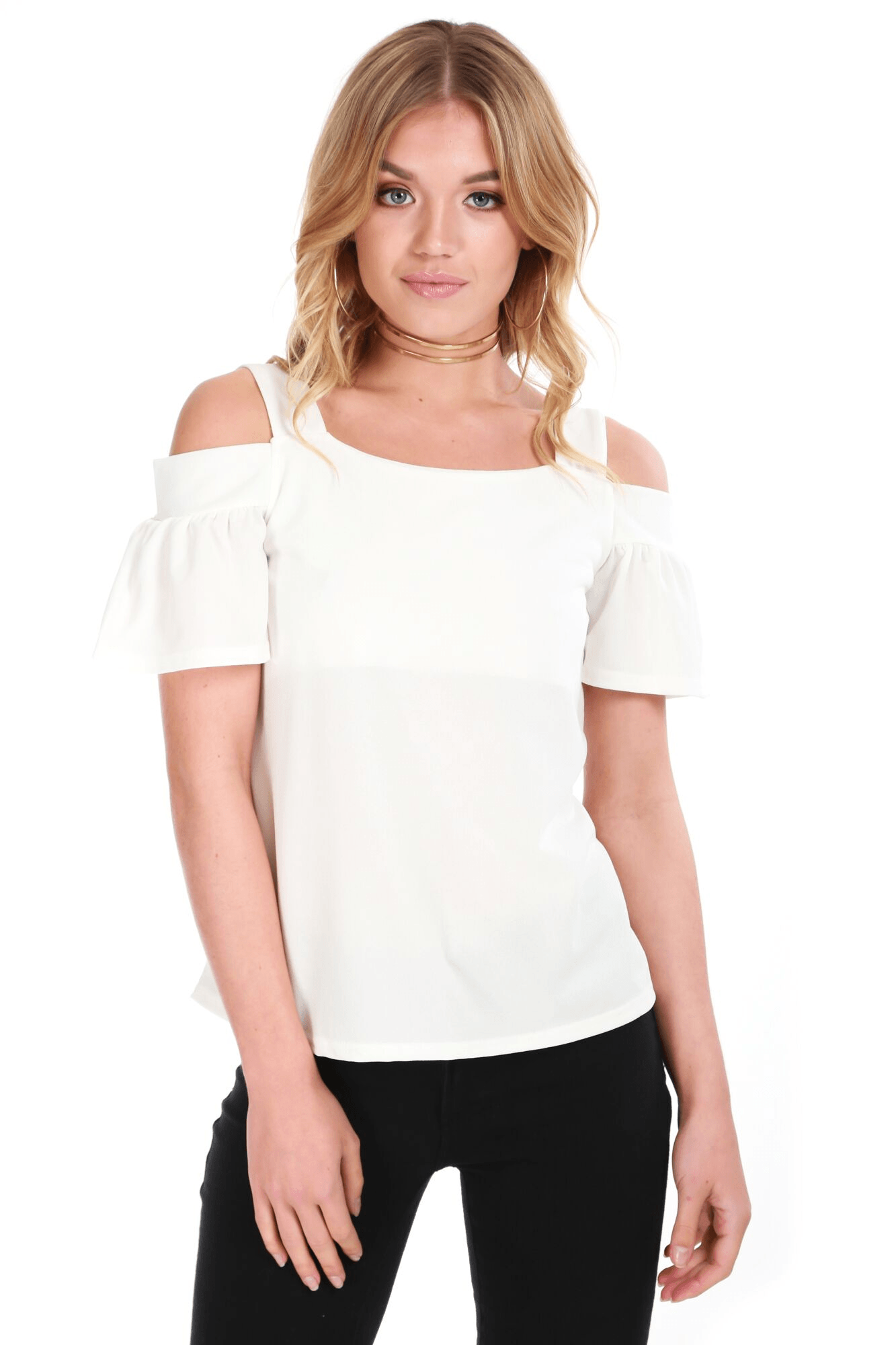 Harriette Off Shoulder Frill Sleeve Top - bejealous-com