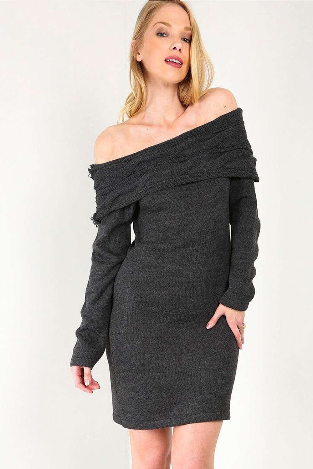 Hayley Off Shoulder Baggy Knitted Mini Dress - bejealous-com