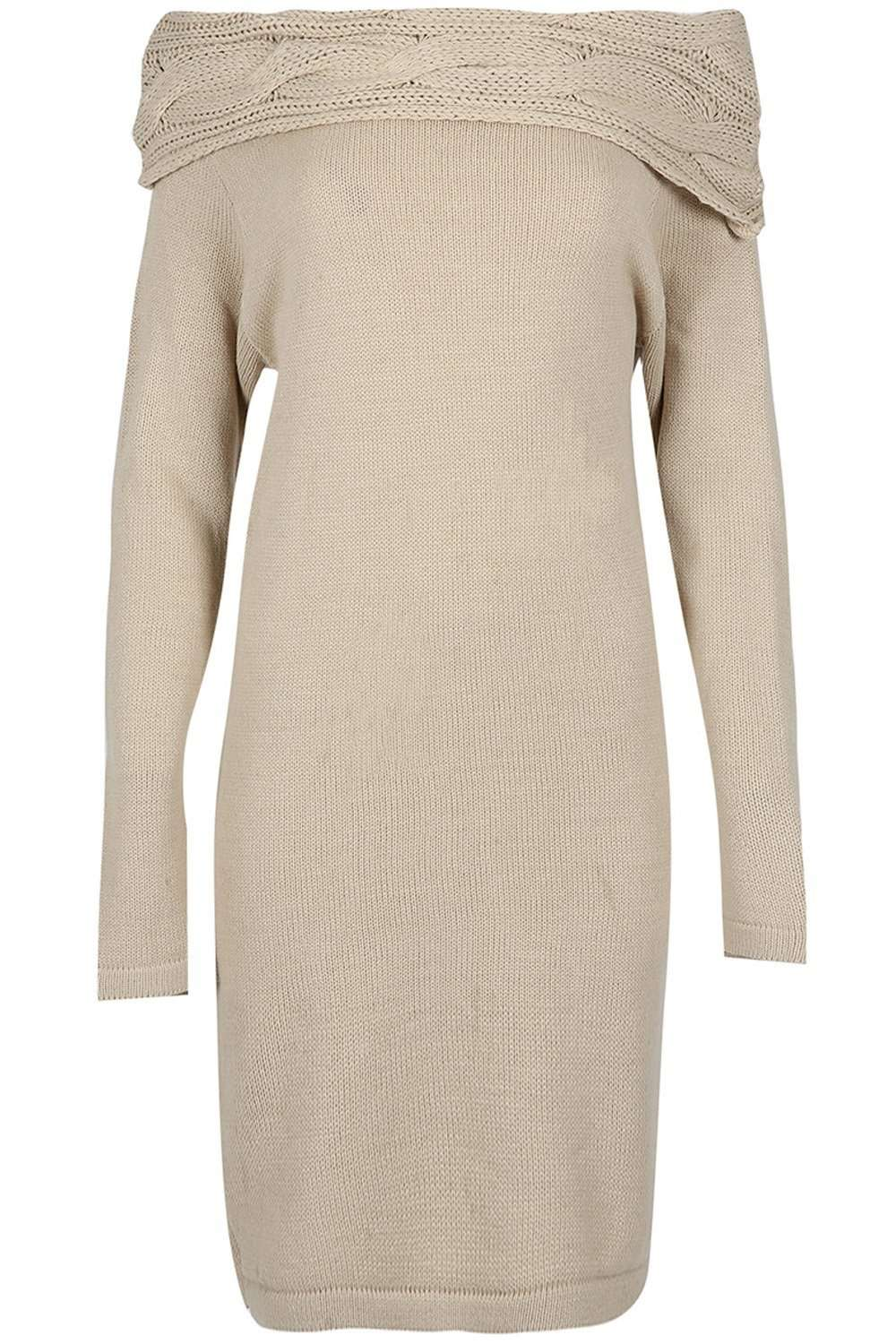 Off Shoulder Beige Knitted Jumper Dress - bejealous-com
