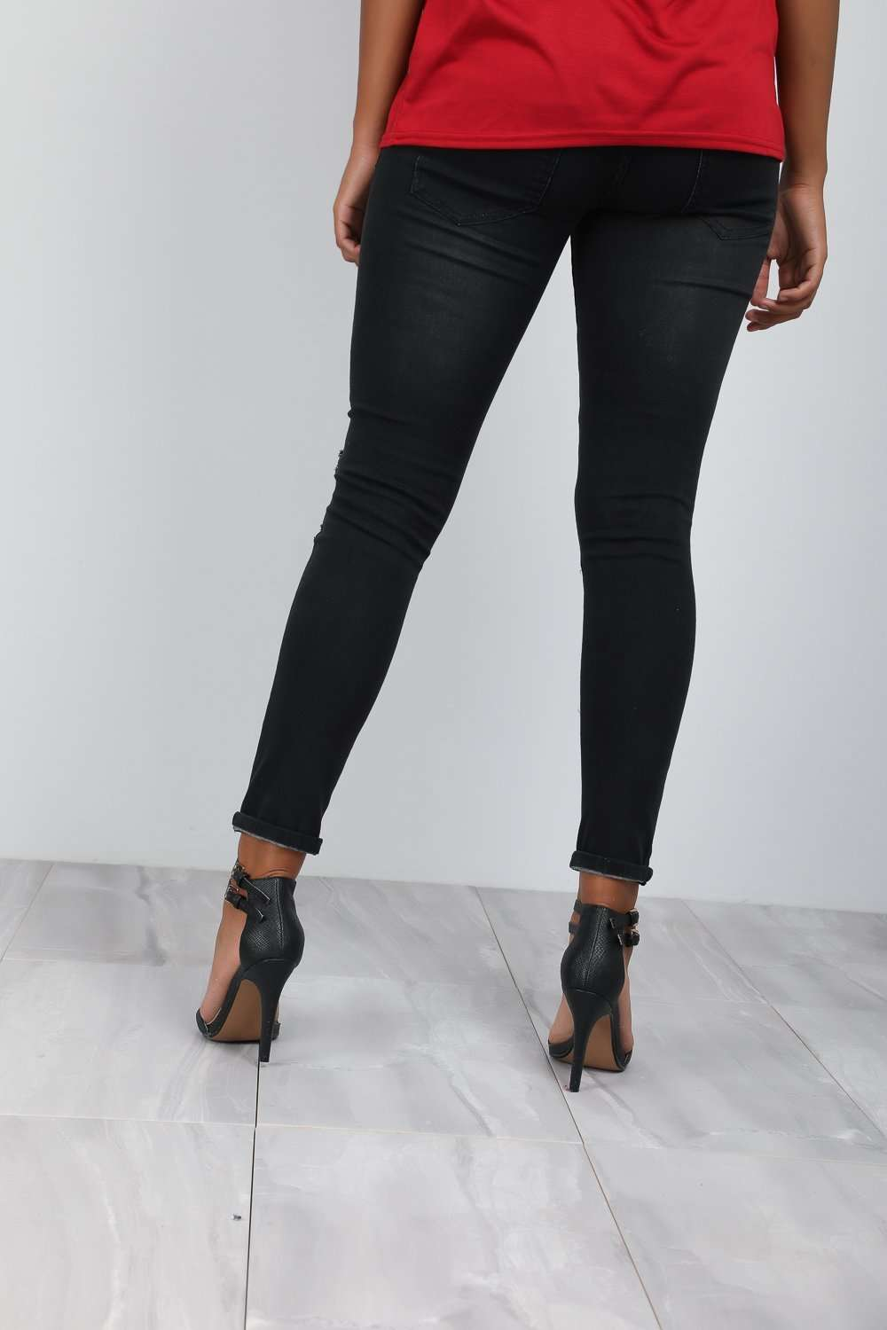 Heather High Waist Ripped Knee Skinny Jeans - bejealous-com