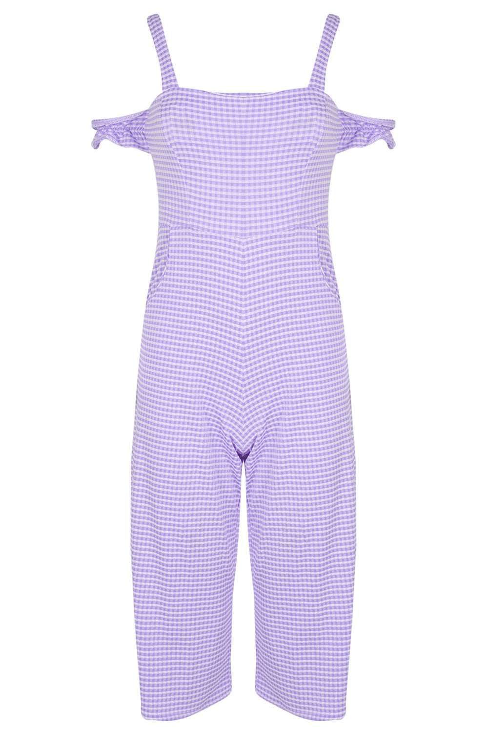 Heidi Cold Shoulder Gingham Jumpsuit - bejealous-com