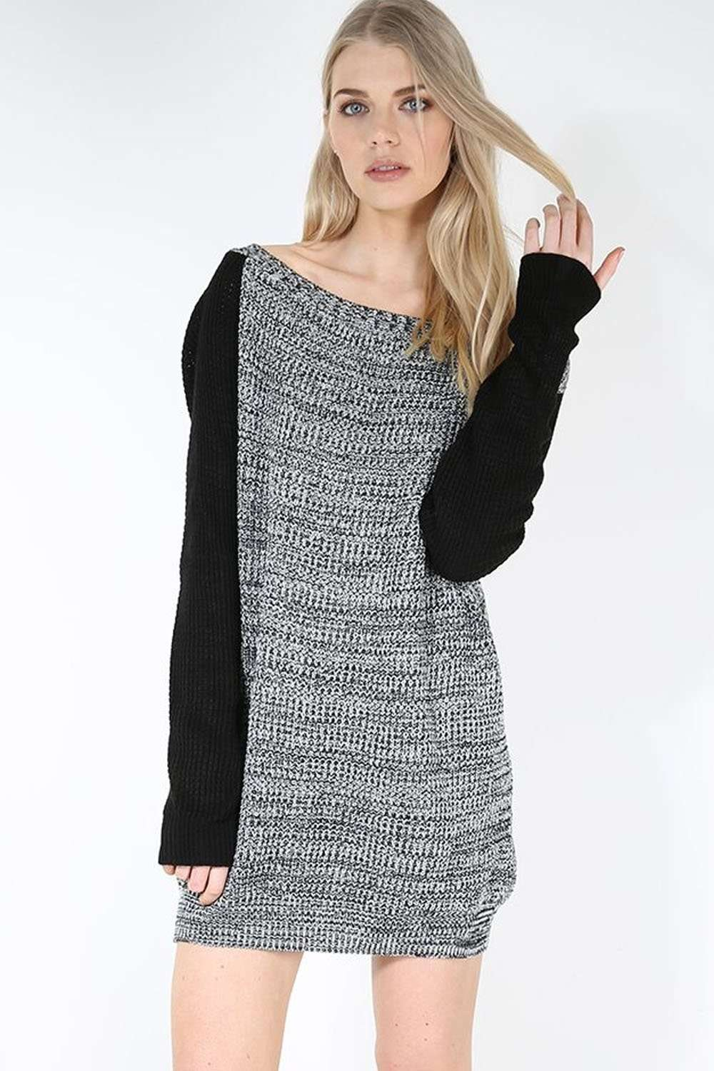Off Shoulder Black Knitted Jumper Dress - bejealous-com