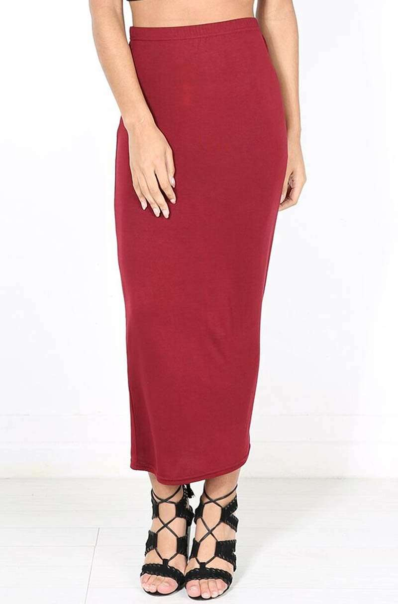 High Waist Burgundy Basic Jersey Maxi Pencil Skirt - bejealous-com
