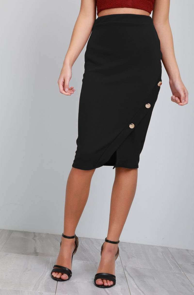 High Waisted Gold Button Black Midi Tuxedo Skirt - bejealous-com