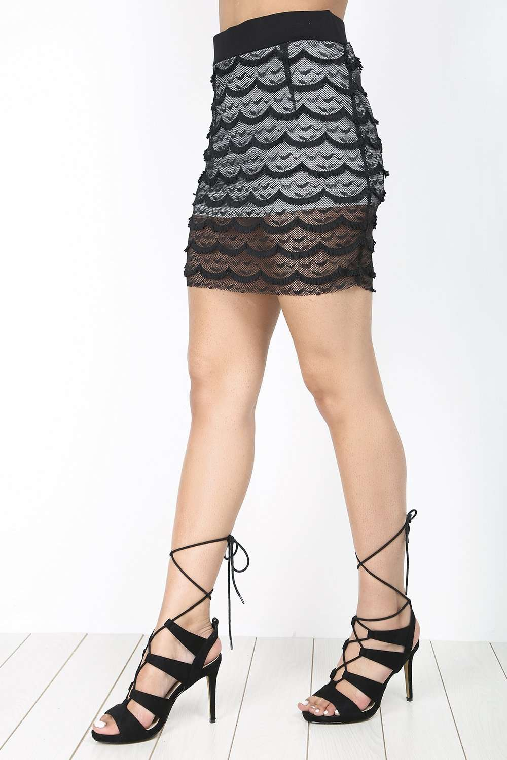 High Waisted Scallop Hem Lace Mini Skirt - bejealous-com