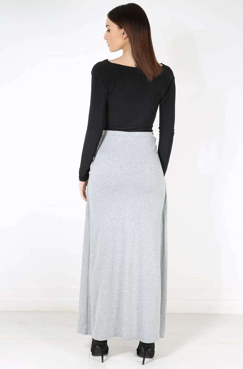 High Waisted Split Leg Grey Maxi Skirt - bejealous-com