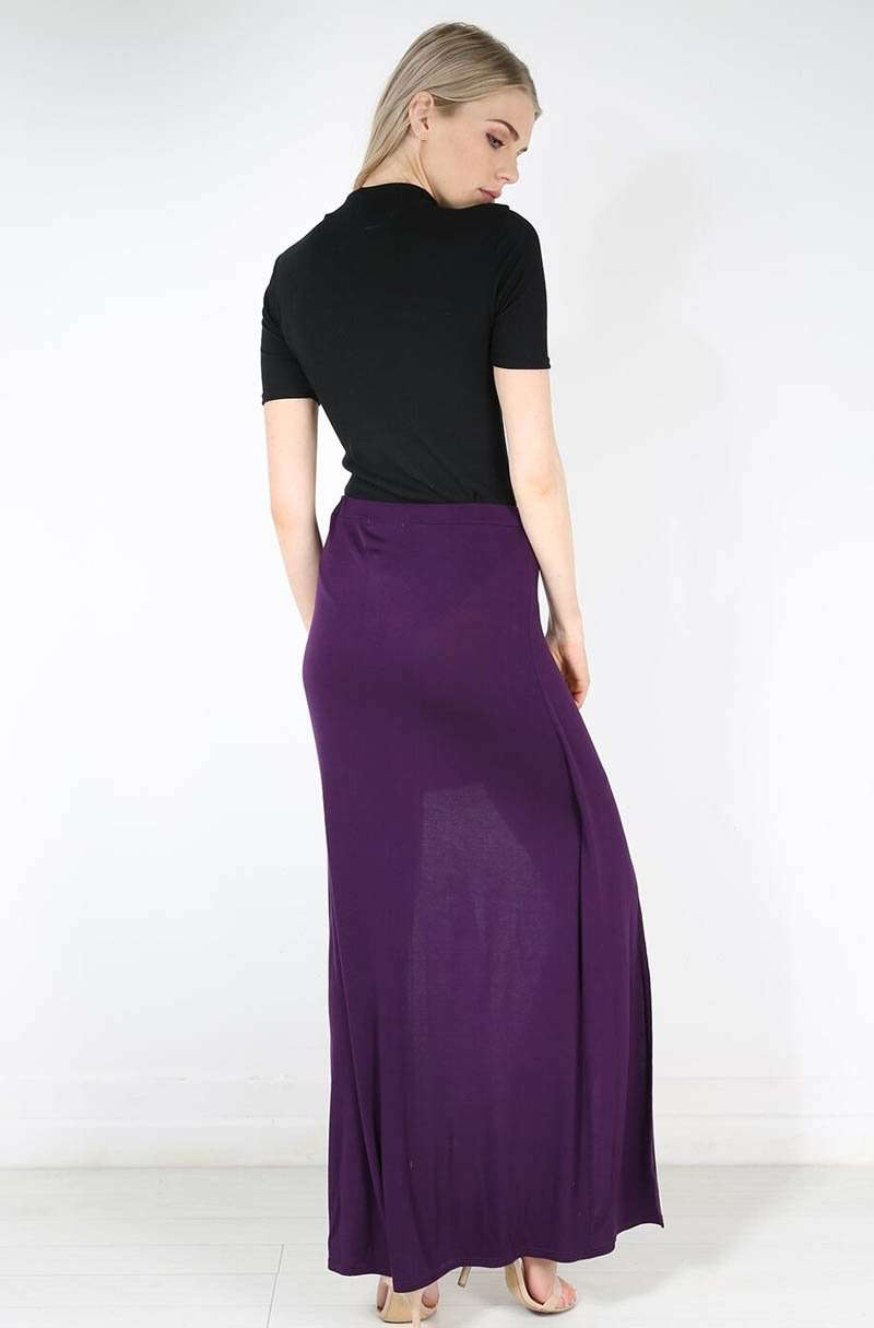 High Waisted Split Leg Purple Maxi Skirt - bejealous-com