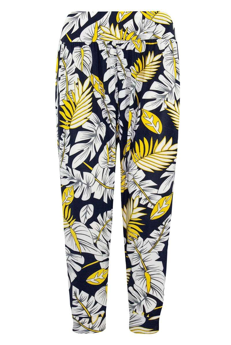 High Waisted Tropical Print Cropped Harem Trousers - bejealous-com