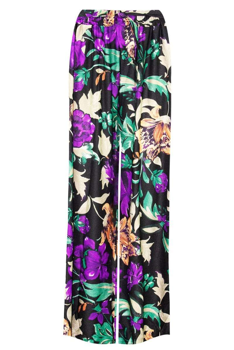 High Waisted Tropical Print Wide Leg Palazzo Pants - bejealous-com