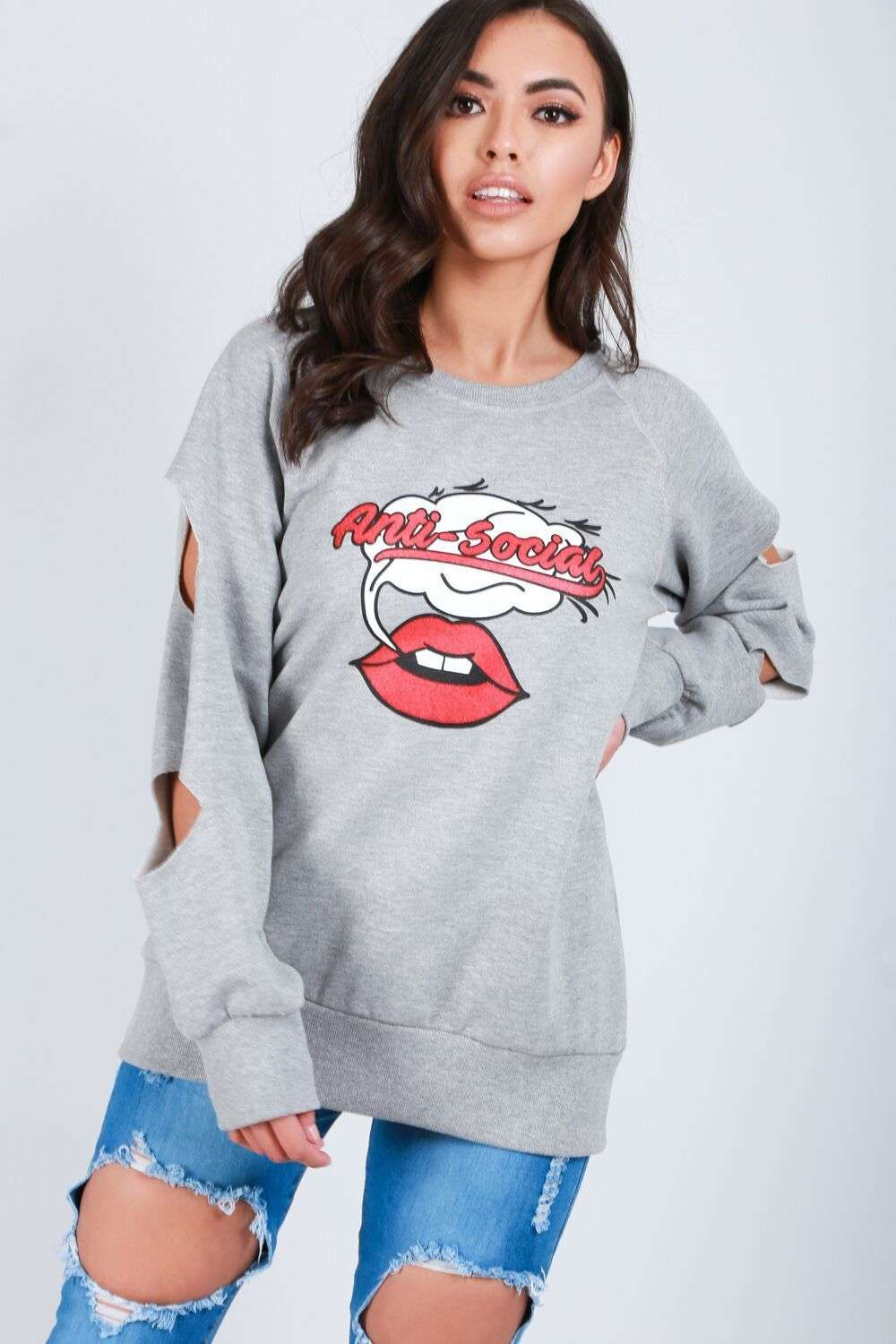 Holly Anti Social Graphic Print Sweatshirt - bejealous-com