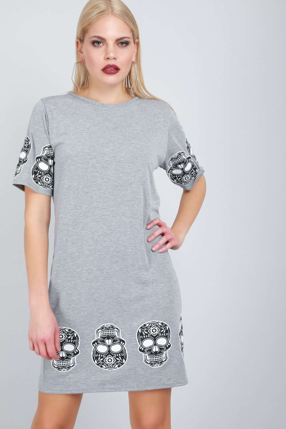 Iliza Skull Print Loose Fit Tshirt Dress - bejealous-com