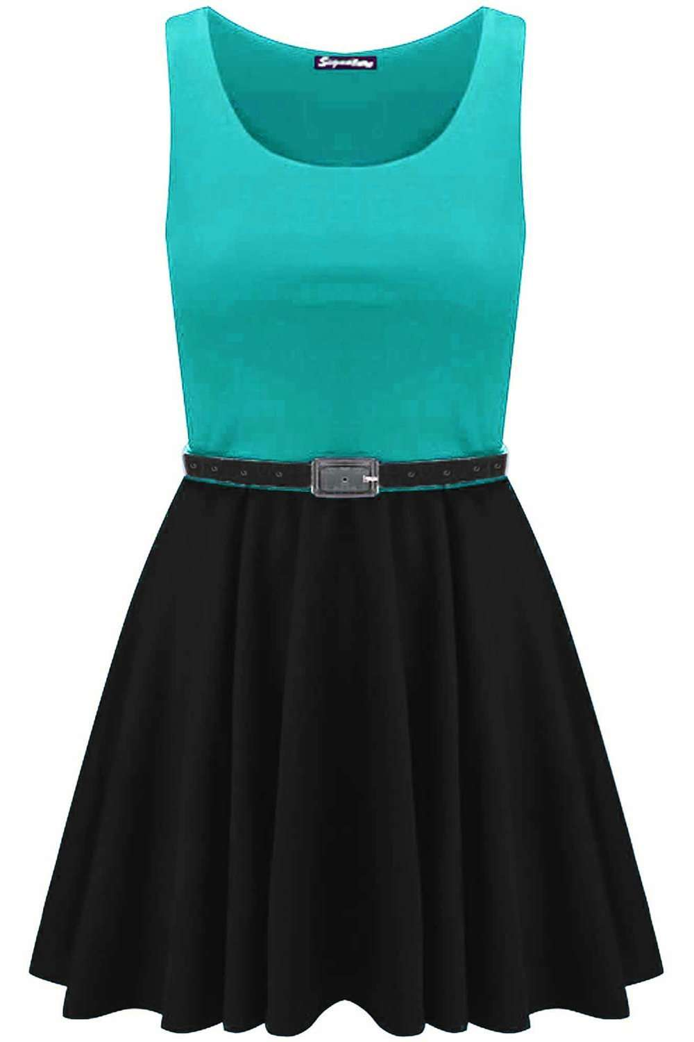 Ilizia Colour Block Sleeveless Skater Dress - bejealous-com