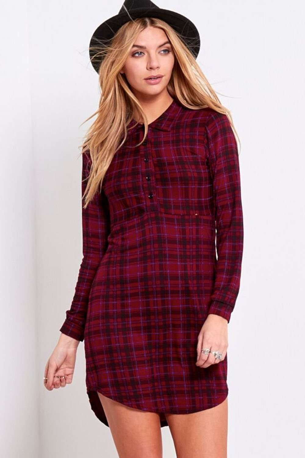Iris Long Sleeve Red Tartan Shirt Dress - bejealous-com