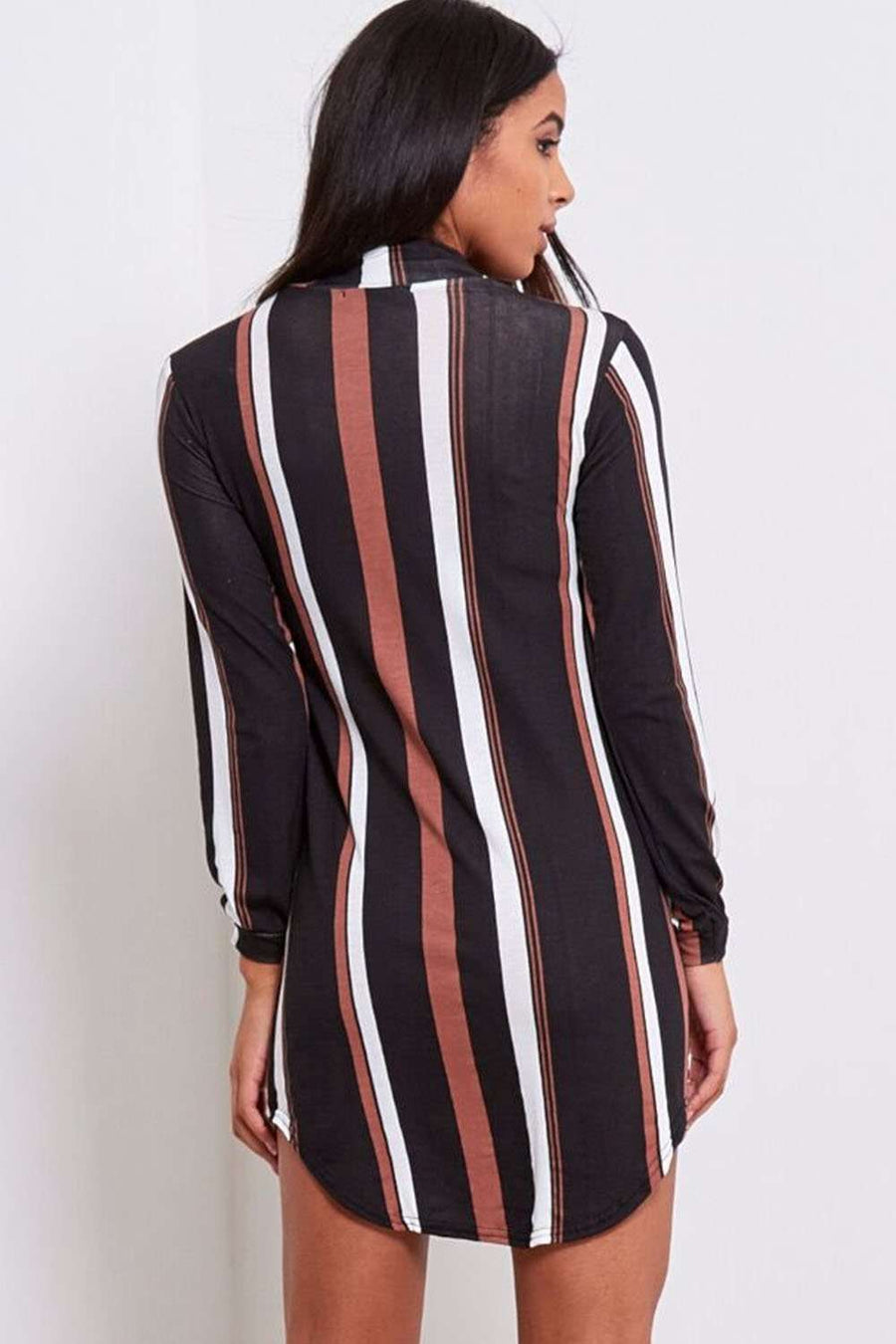 Iris Monochrome Striped Shirt Dress - bejealous-com