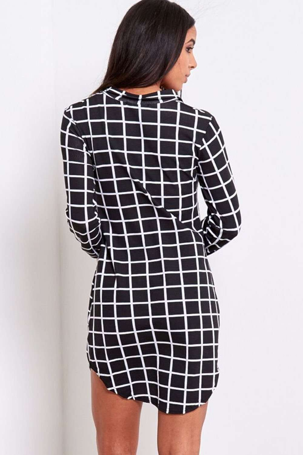 Iris Monochrome Tartan Shirt Dress - bejealous-com