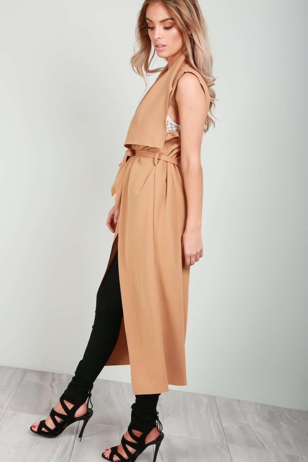 Ivy Sleeveless Belted Waterfall Cardigan - bejealous-com