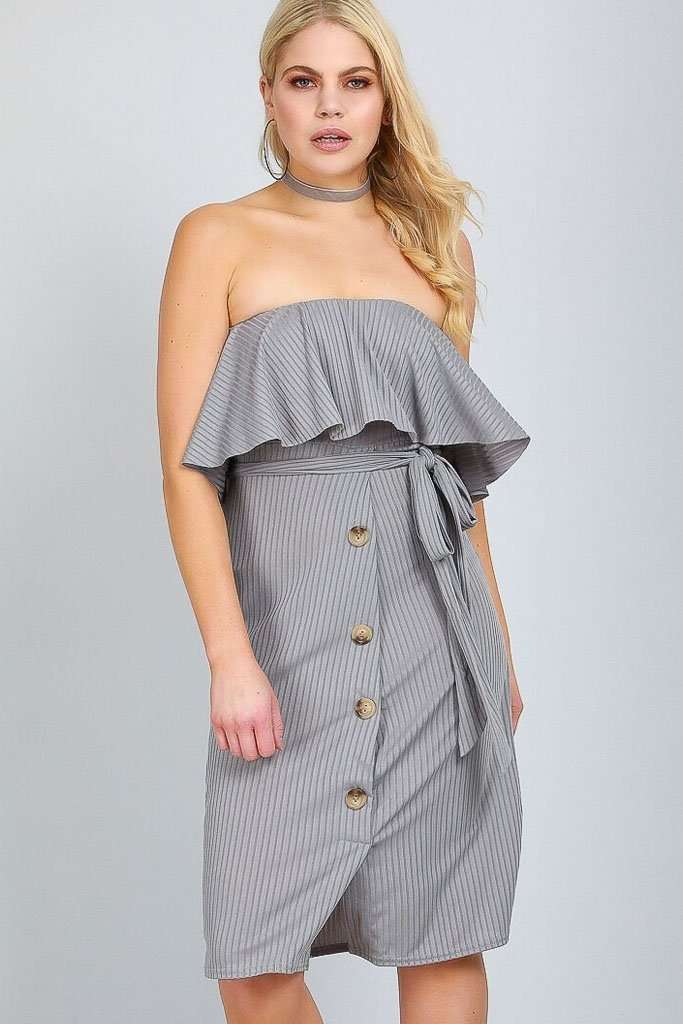 Jace Off Shoulder Button Front Midi Dress - bejealous-com