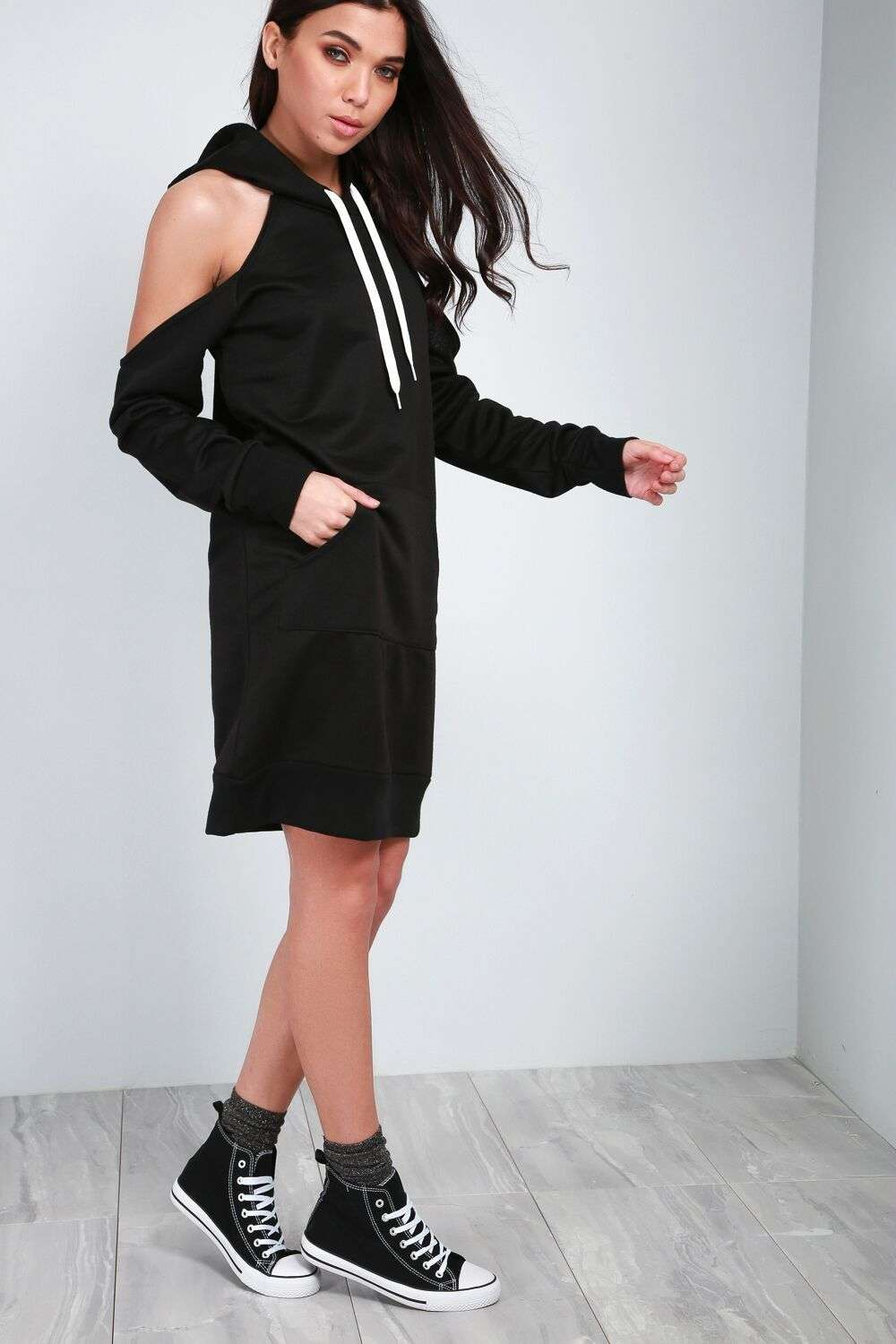 Jae Cold Shoulder Hooded Jumper Dress - bejealous-com