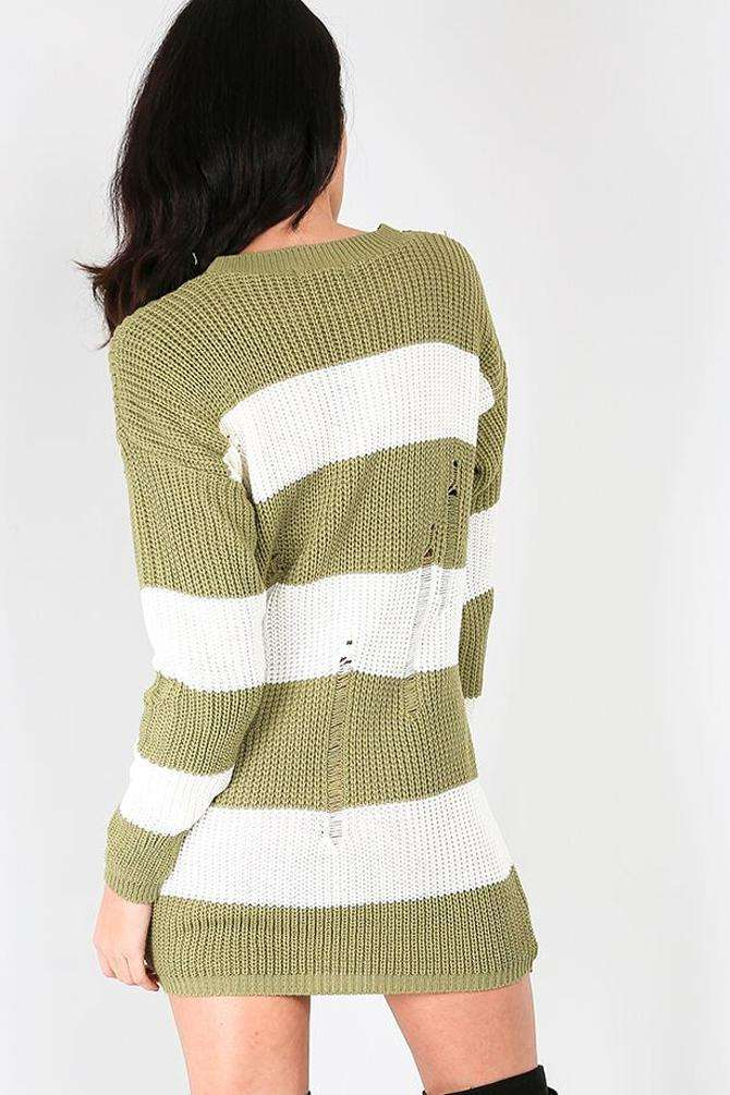 Striped Monochrome Knitted Jumper Dress - bejealous-com