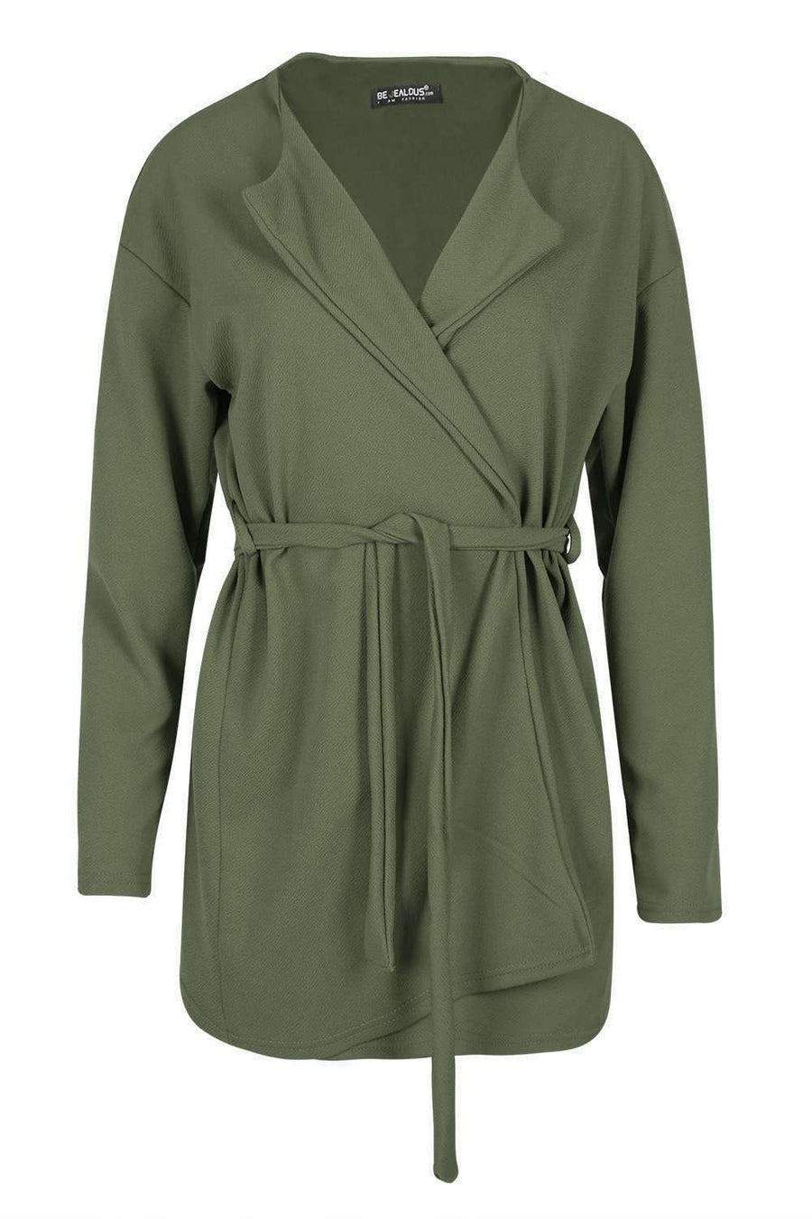 Janet Long Sleeve Belted Waterfall Jacket - bejealous-com