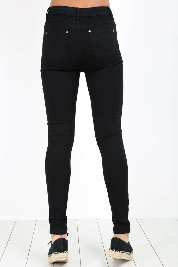 Janet Ripped Knee Studded Skinny Jeans - bejealous-com