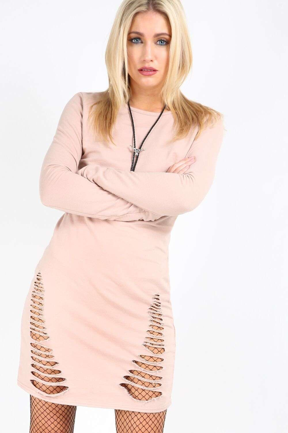 Jenni Long Sleeve Ripped Sweater Dress - bejealous-com