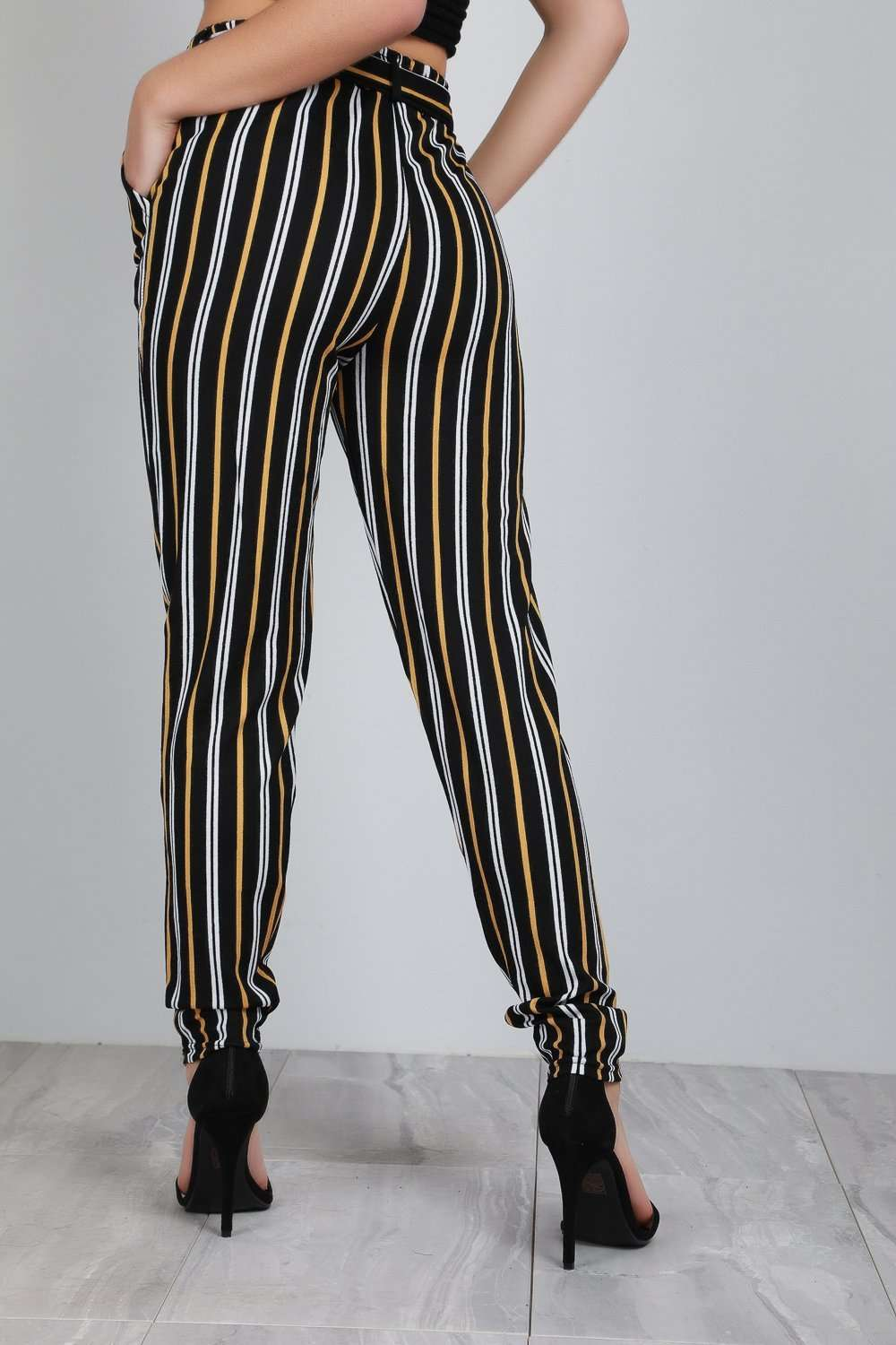 Jerika Mustard Striped Cigarette Belted Trousers - bejealous-com