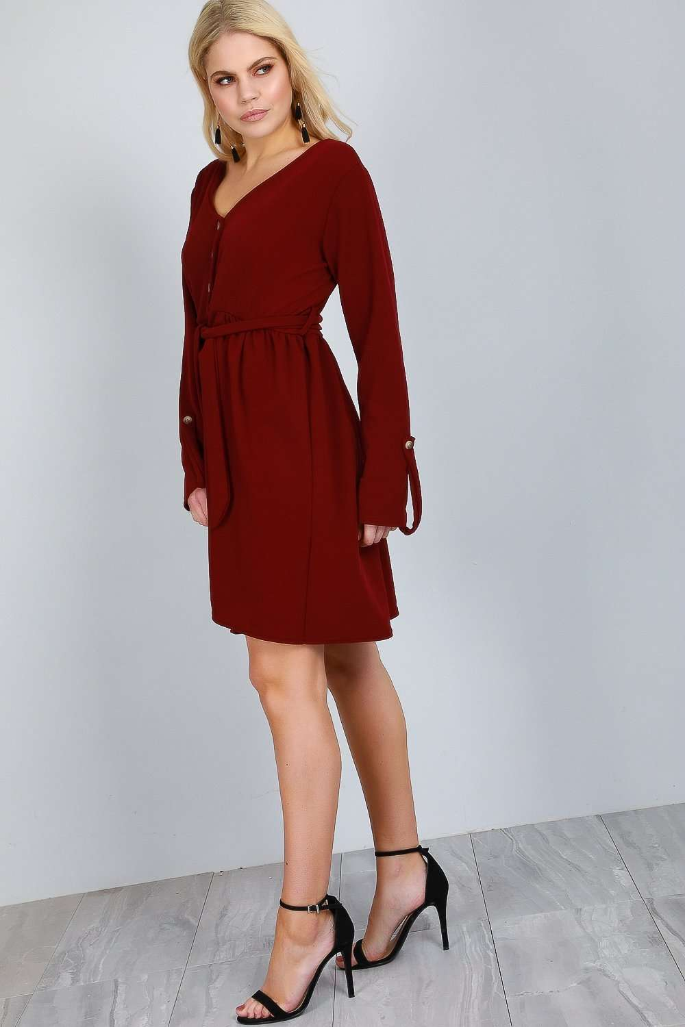 Jess Long Sleeve Button Through Midi Dress - bejealous-com