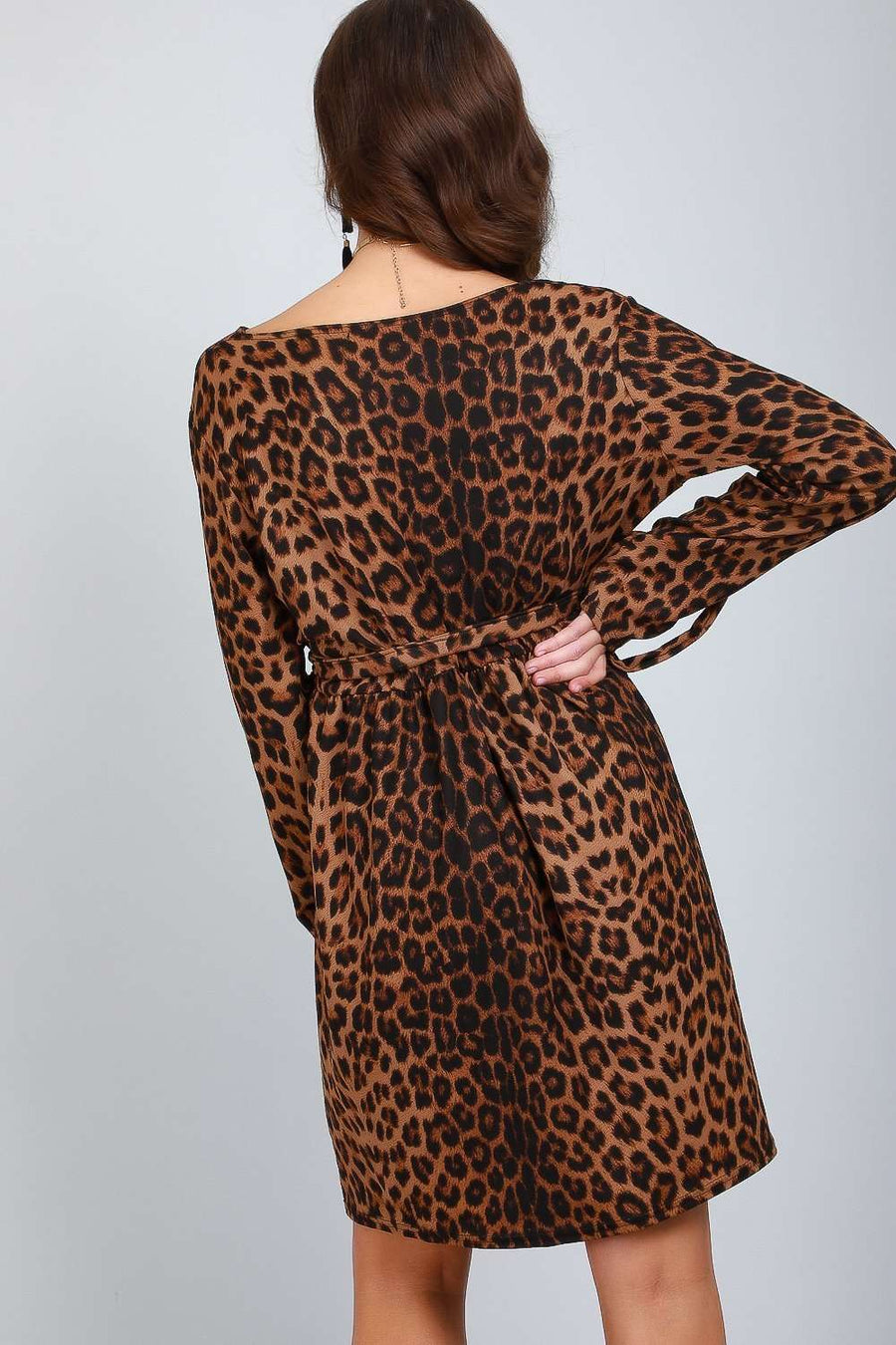 Jess Long Sleeve Leopard Print Shift Dress - bejealous-com