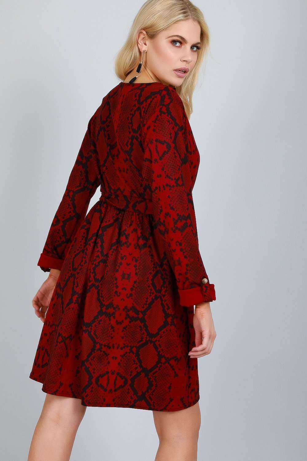 Jess Long Sleeve Snake Print Shift Dress - bejealous-com