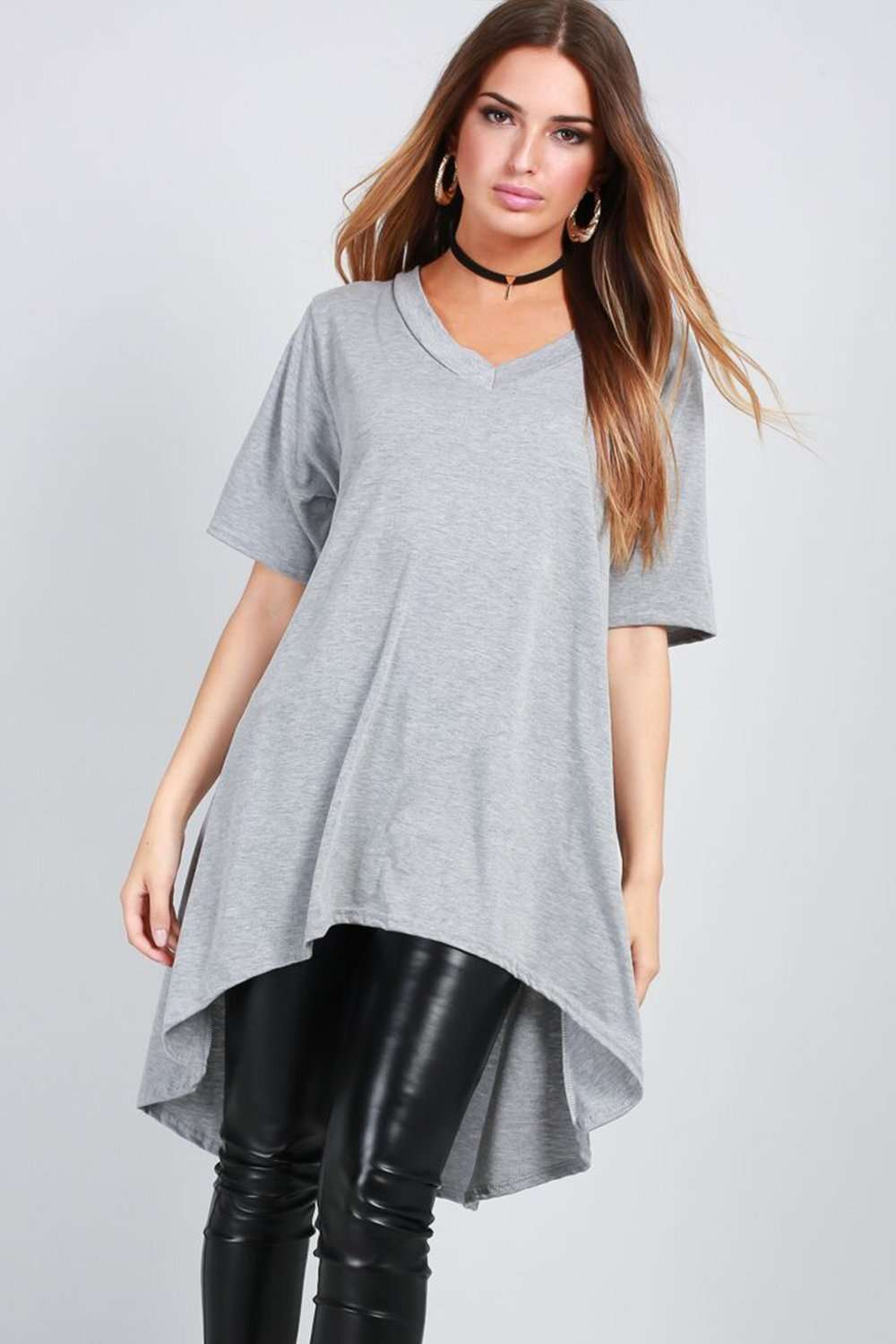 V Neck Blue Oversized Hi Lo Basic Tshirt - bejealous-com
