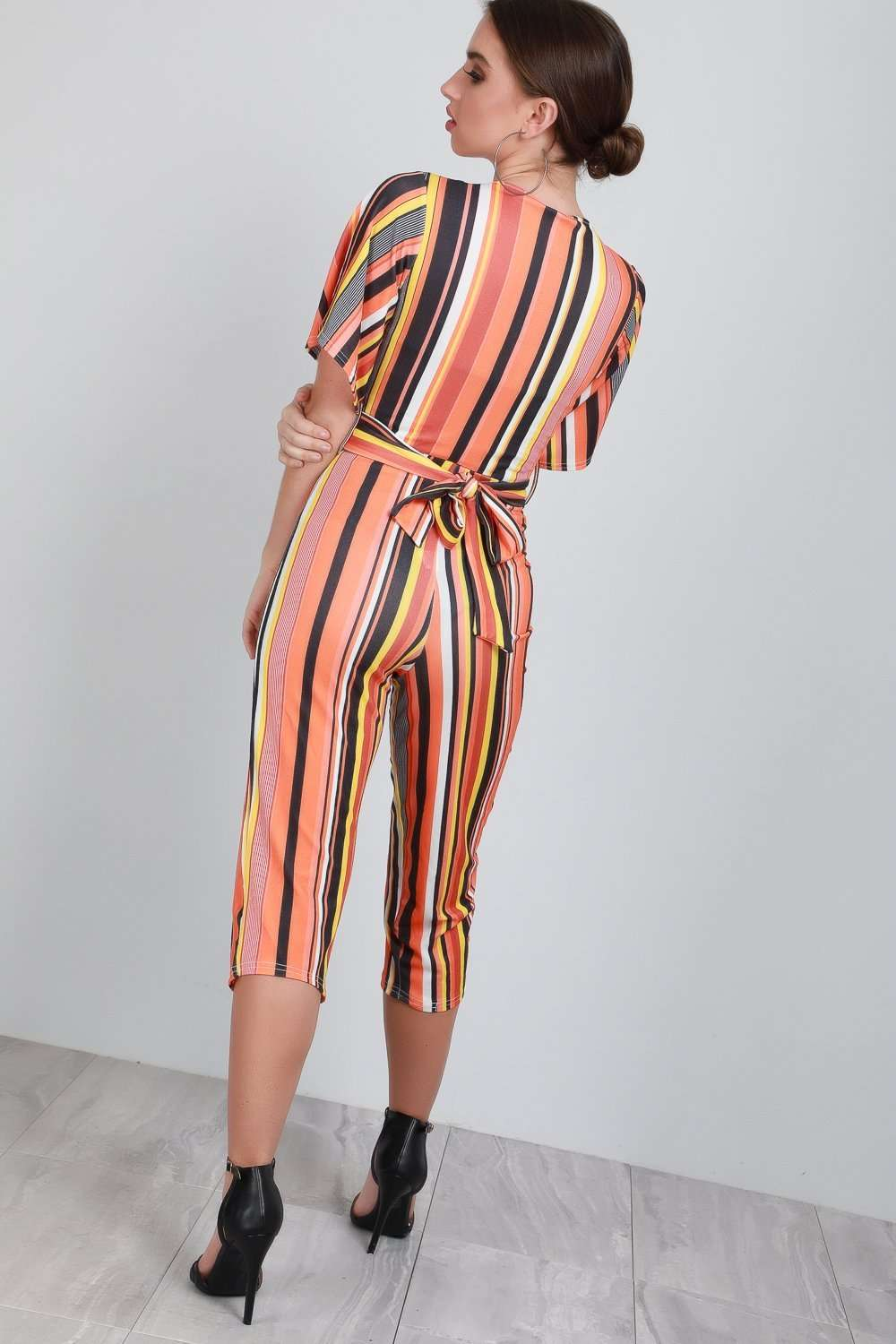 Jessi Wrap Front Cropped Leg Striped Jumpsuit - bejealous-com