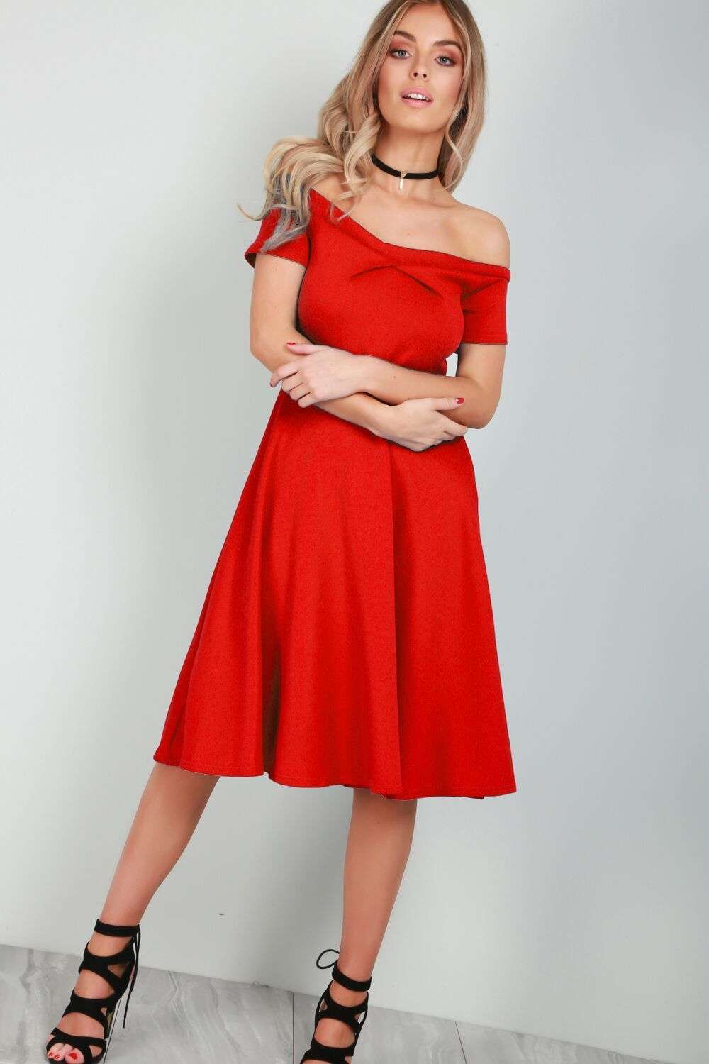 Jolly Off Shoulder Midi Flared Swing Dress - bejealous-com