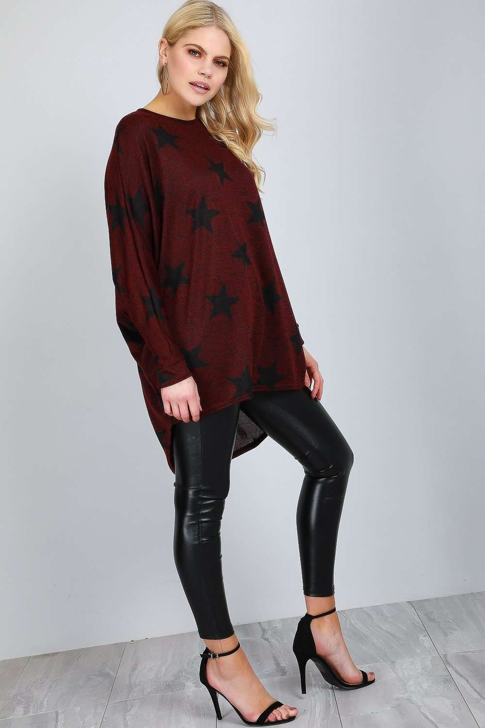 Star Print Dipped Hem Black Batwing Top - bejealous-com