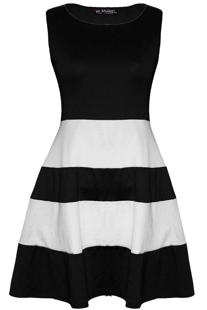 Justine Colour Block Mini Skater Dress - bejealous-com