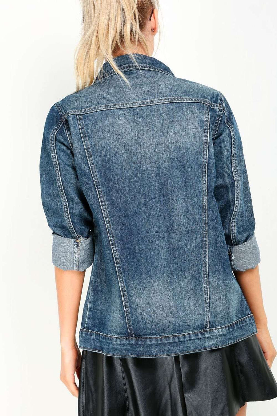 Jyllina Oversized Mid Wash Denim Jacket - bejealous-com