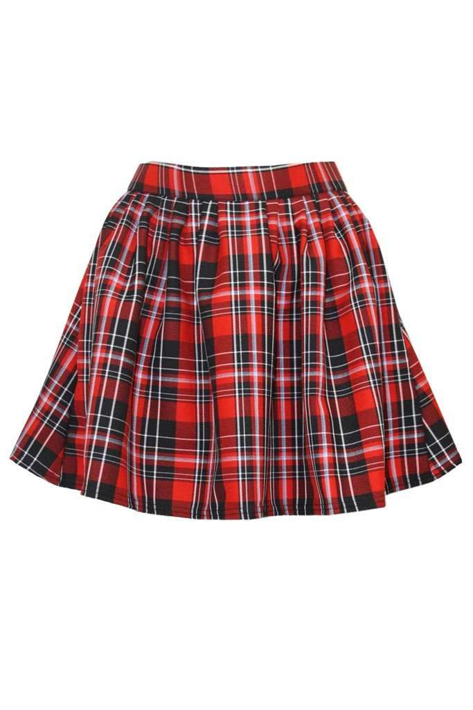 Kadie High Waist Red Tartan Skater Skirt - bejealous-com