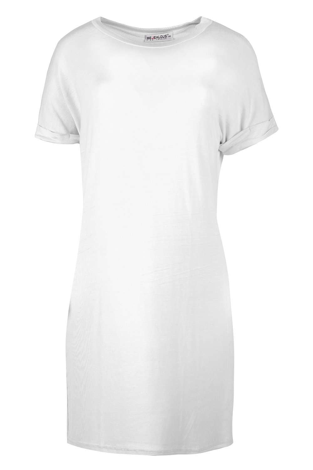 Kammie Roll Sleeve Oversized Basic Tshirt Dress - bejealous-com